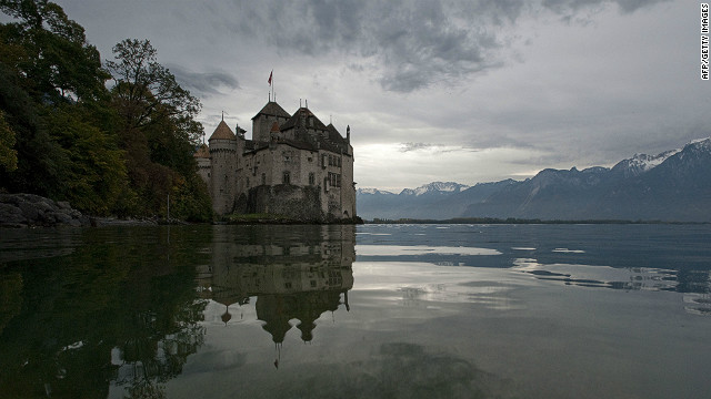 The Chillon Castle near the town of Montreux on the banks of Lake Geneva.