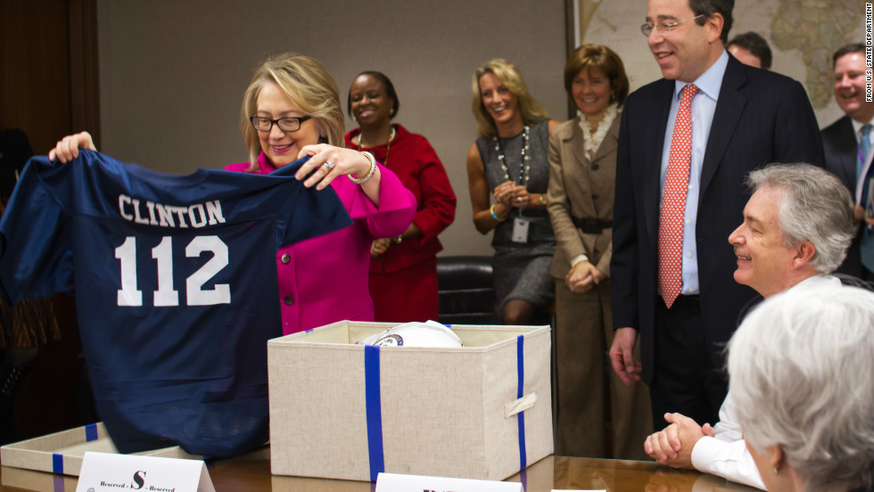 "The number 112 on the jersey she was given ""symbolizes the number of countries [Clinton] visited as Secretary of State,"" Nuland said.  ""She thought it was cool.  But then being Hillary Clinton she wanted to get right to business."""