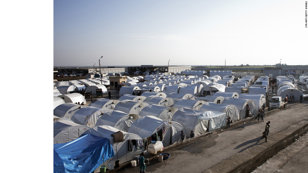 A general view of the Bab al-Salam refugee camp on the Syrian-Turkish border on Tuesday, January 1. Turkey, which supports the insurgency, is housing about 150,000 Syrian refugees at camps near the border.