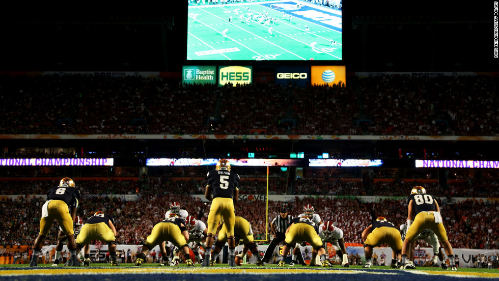 Notre Dame quarterback Everett Golson, sits under center during Monday night's game against Alabama.