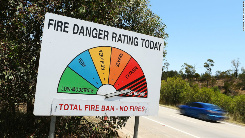 "The fire rating reached ""catastrophic"" in four areas of New South Wales, prompting warnings from Prime Minister Julia Gillard that Tuesday was a ""dangerous day."""