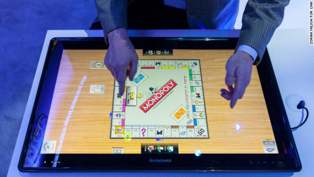 A game of Monopoly is displayed on Lenovo's Horizon table PC at last year's CES.