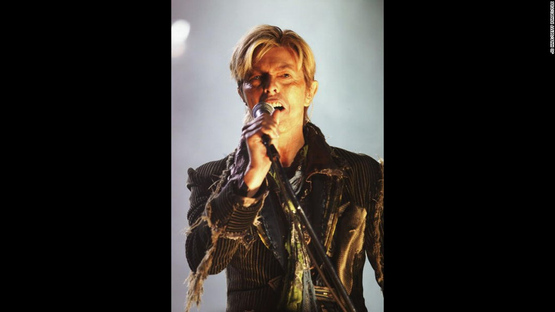 Bowie performs on the third and final day of the 2004 Nokia Isle of Wight Festival at Seaclose Park on the Isle of Wight, England.