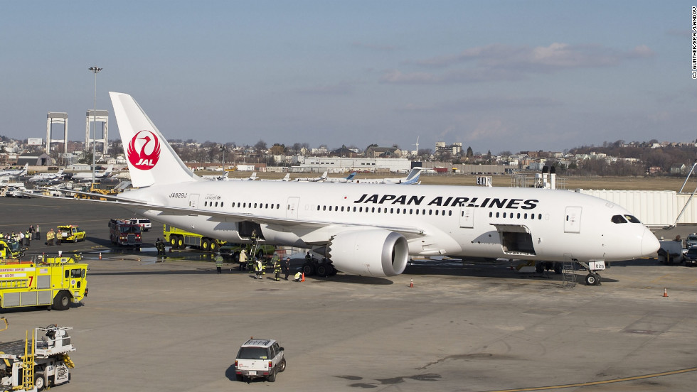 A fire aboard an empty Japan Airlines 787 Dreamliner prompted a response by firefighters at Boston Logan International Airport on January 7, 2013.
