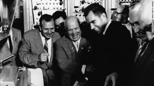 Nixon and Khrushchev share a laugh during Nixon's visit to the Soviet Union in 1959.