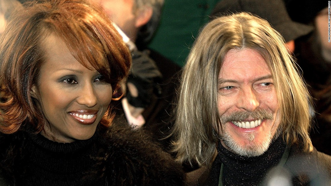 "Bowie appears with his wife, model Iman, at the New York premiere of ""Hannibal"" in February 2001."