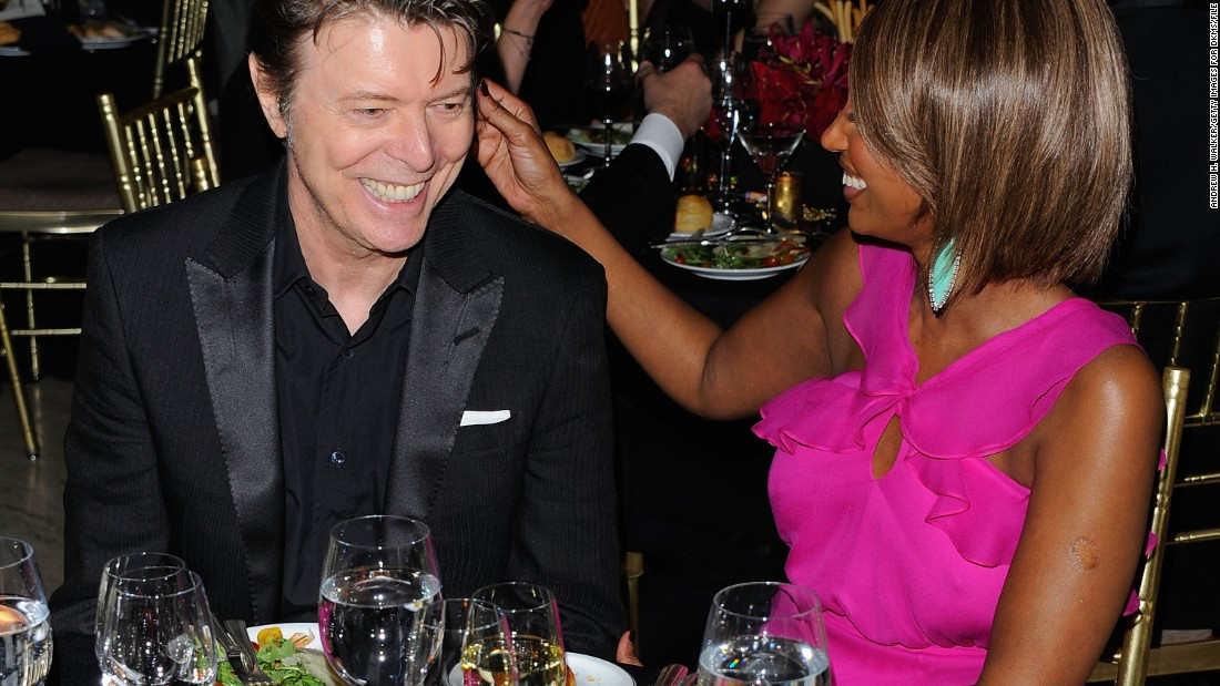 Bowie looks clean-cut while attending a gala in New York honoring Rihanna and Michael Clinton with his wife, Iman, in April 2011.