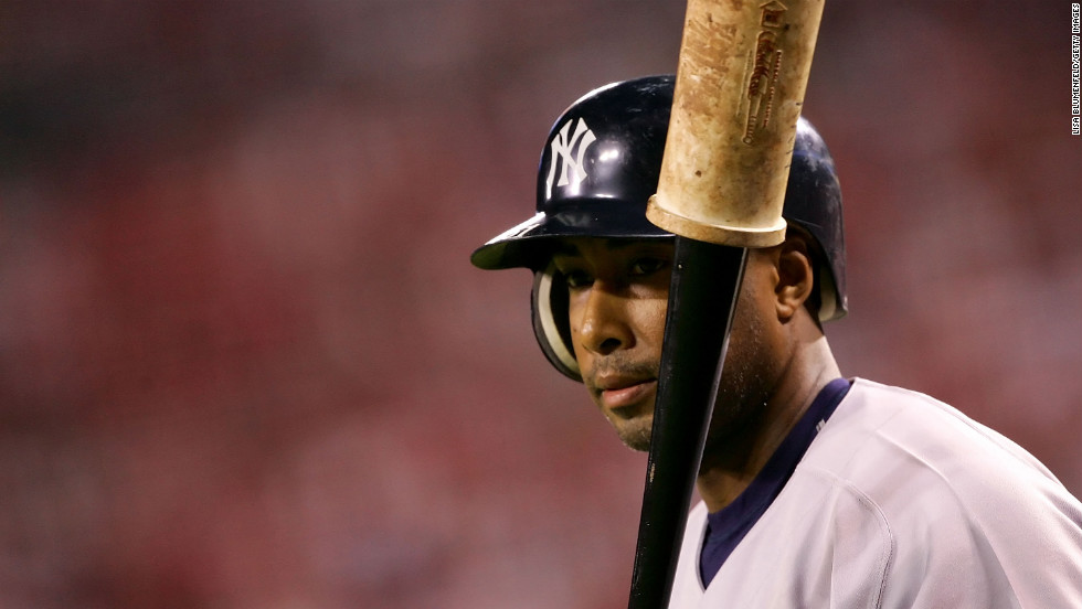 Bernie Williams of the New York Yankees prepares to bat against the Los Angeles Angels during Game Five of the American League Division Series on October 10, 2005.