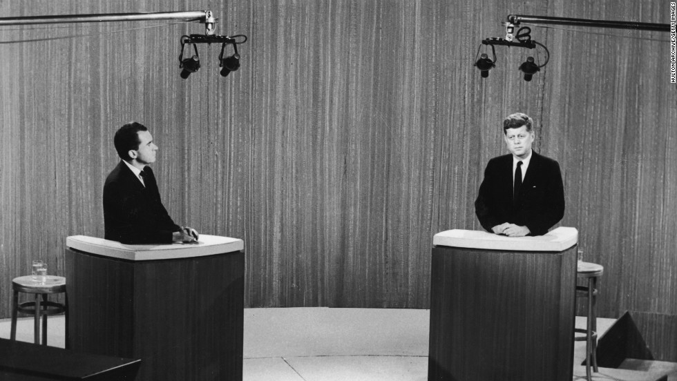 Vice President Nixon and Sen. John F. Kennedy take part in a televised debate during their 1960 presidential campaign. Kennedy won the election that year.