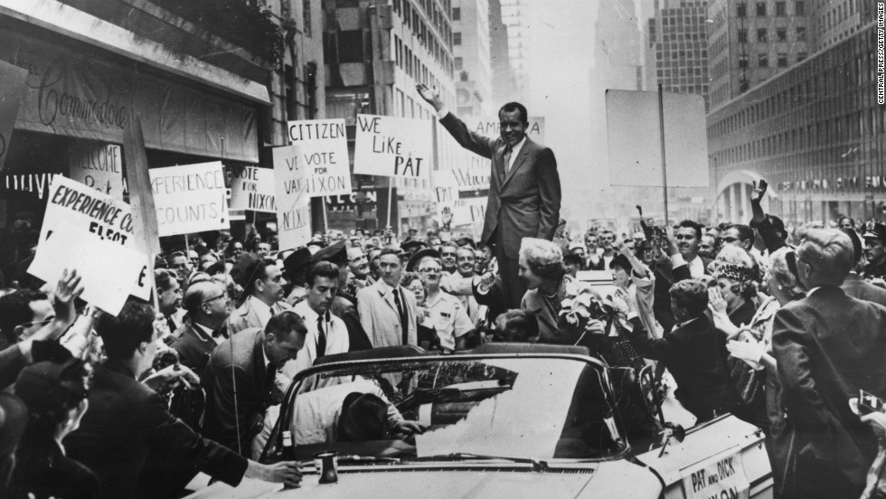 Republican presidential candidate Nixon campaigns in New York in 1960.