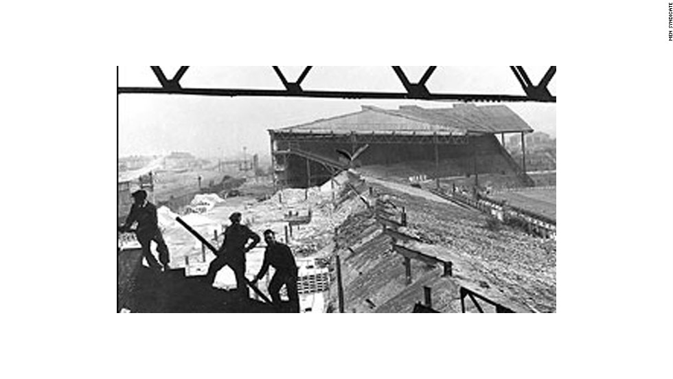 Old Trafford, home of Manchester United, was blitzed during a raid by the Luftwaffe on March 11 1941. The stadium was obliterated and left the club homeless. All of Gibson's hard work had been undone in a single night. United agreed a deal to play its home matches at Maine Road, home of rival Manchester City, until Old Trafford was rebuilt in 1949.