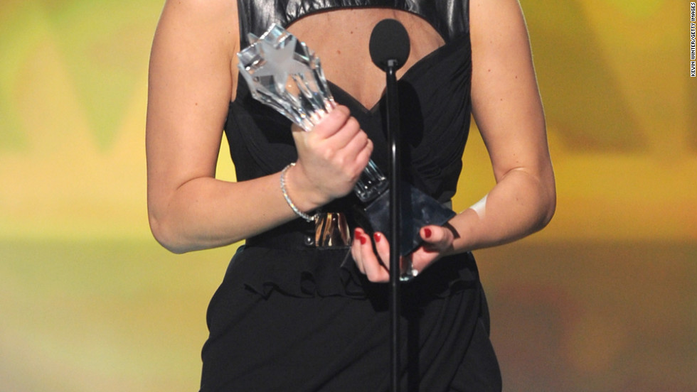 Jennifer Lawrence accepts an award at the Critics' Choice Movie Awards in Santa Monica, California.