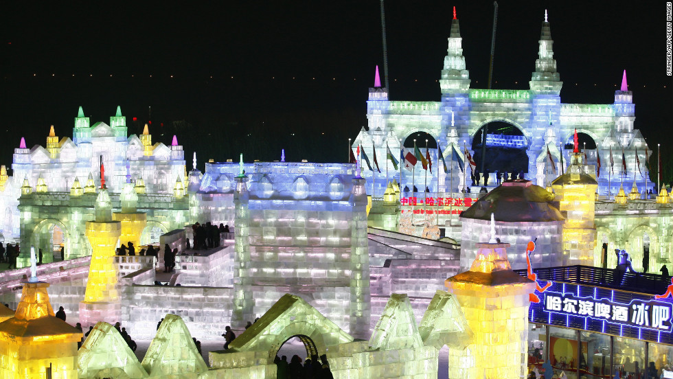 This year's Harbin festival features majestic ice castles and sculptures of fairytale characters bedecked with LED lights.