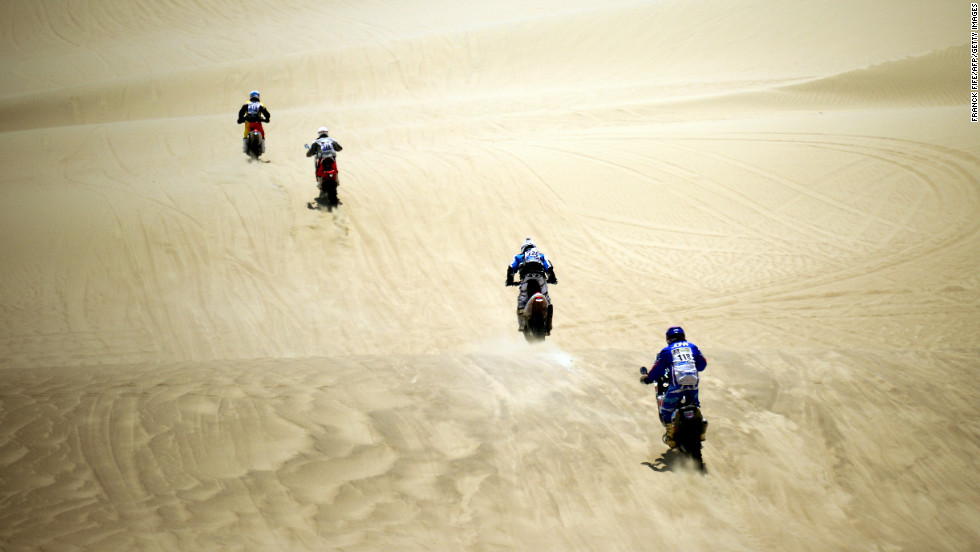 Riders compete during Stage 1 between Lima and Pisco, Peru, on Saturday, January 5.