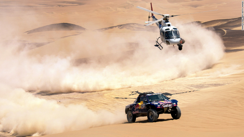 Qatar's Nasser Al-Attiyah competes during Stage 3 between Pisco and Nazca, Peru, on Monday, January 7.