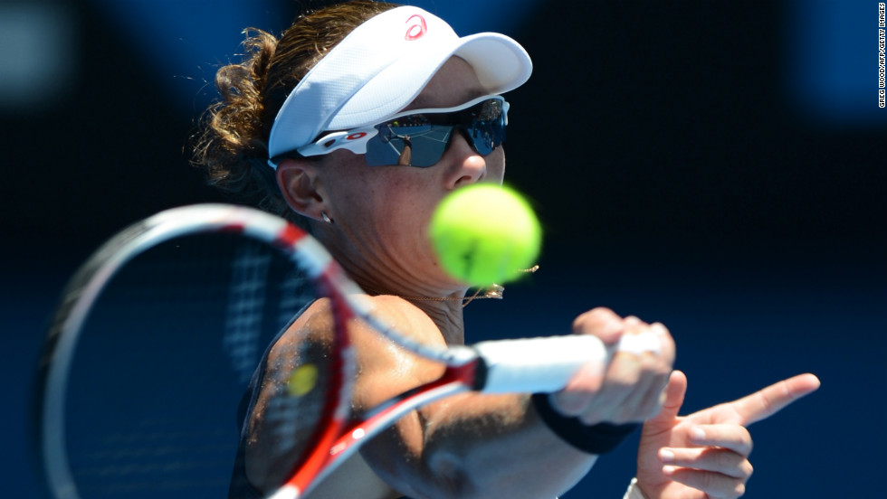 Australia's Samantha Stosur plays a return to Taiwan's Kai-Chen Chang during their women's singles match on January 14. Stosur won 7-6(3) 6-3.