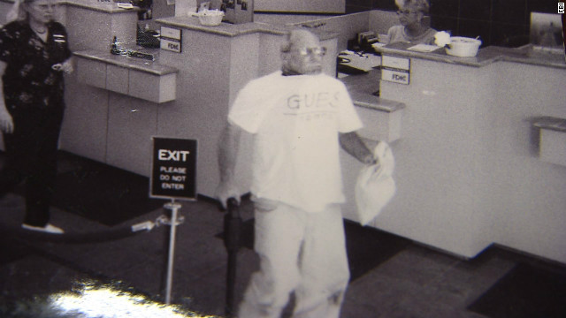 Surveillance video shows Brian Wells robbing an Erie, Pennsylvania, bank  in August 2003.