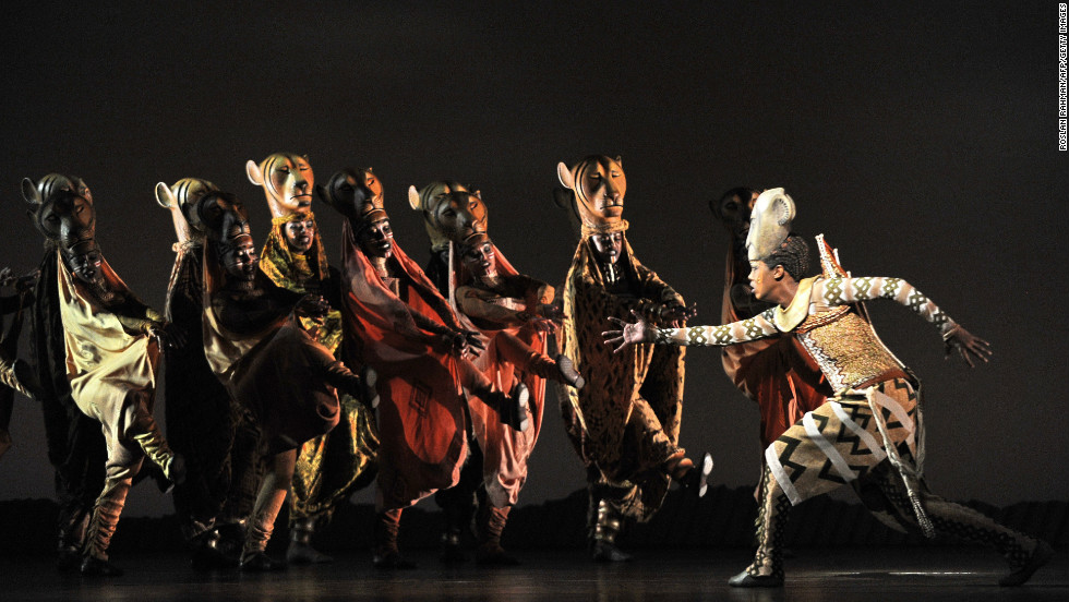 "South African Puleng March (right) as Nyala, during a ""Lion King"" performance in Singapore on March 9, 2011."