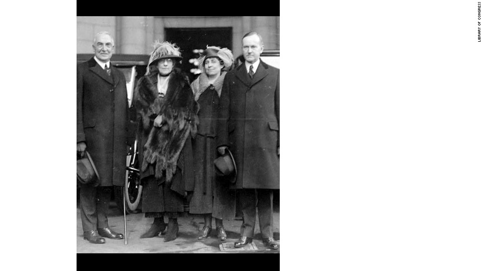 From left, President Warren Harding and his wife Florence arrive at Union Station, with Grace Coolidge and then-Vice President Calvin Coolidge for the 1921 inauguration.