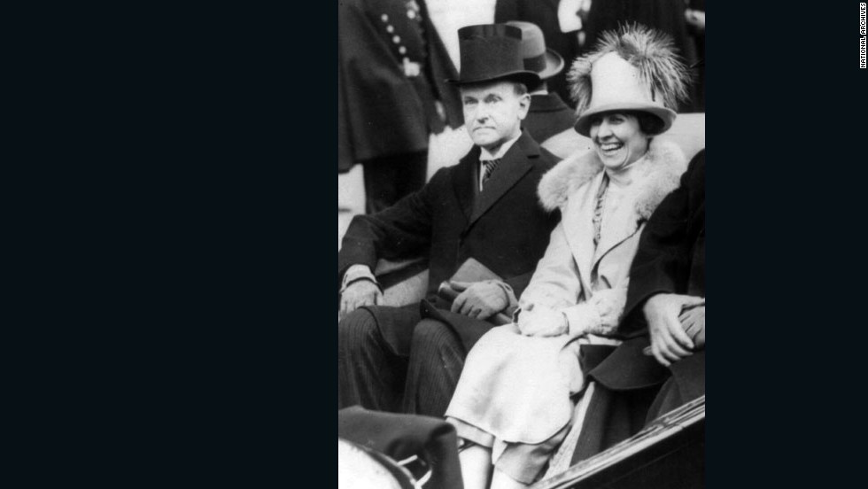 Calvin Coolidge and wife Grace travel on Inauguration Day 1923.
