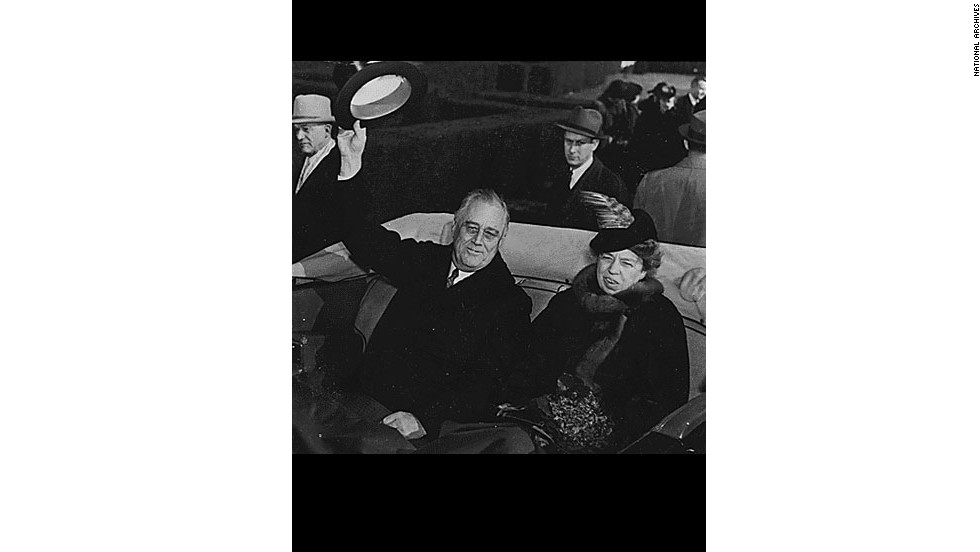 President Franklin Delano Roosevelt and Eleanor Roosevelt ride during his third presidential inauguration in 1941.