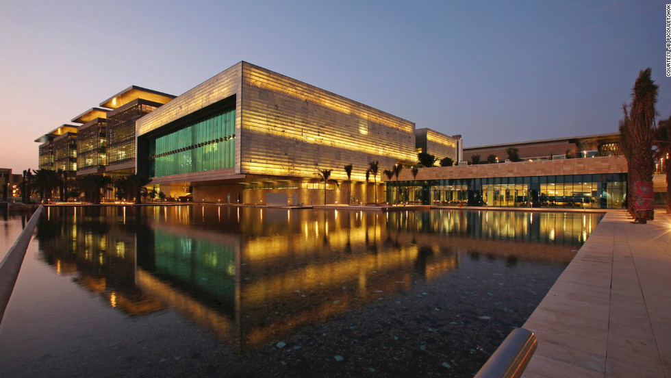 This photo shows Saudi Arabia's first mixed-gender university, the King Abdullah University of Science and Technology, open since 2009. Its buildings are, according to the university website, constructed to utilize natural light and ventilation, to save on electricity and air conditioning.