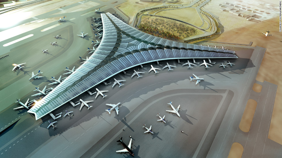 "This artist's impression shows the trefoil shape of the new terminal at Kuwait International Airport. The three wings will have a roof that incorporates a large expanse of panels to harvest solar energy, according to architects, <a href=""http://www.fosterandpartners.com/Practice/Default.aspx"" target=""_blank"">Foster and Partners</a>. The $3.2 billion terminal will be ready in 2016, according to Kuwait's Ministry of Public Works."
