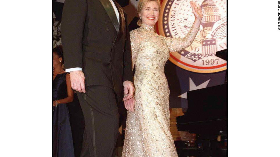 President and Hillary Clinton attend a second term inaugural ball.