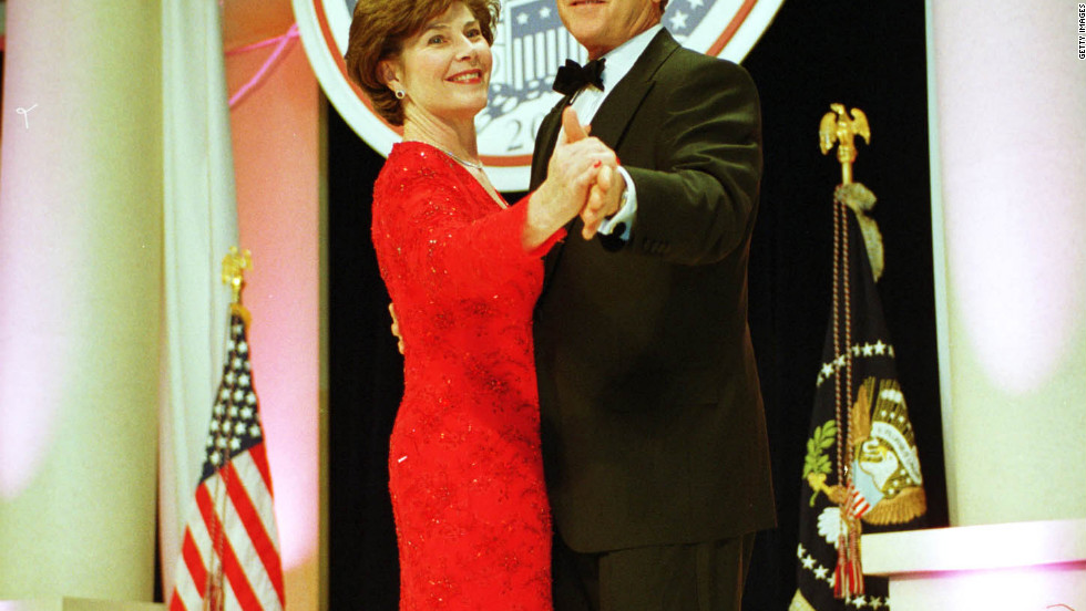 Laura and President George W. Bush attend one of nine inaugural balls in 2001.