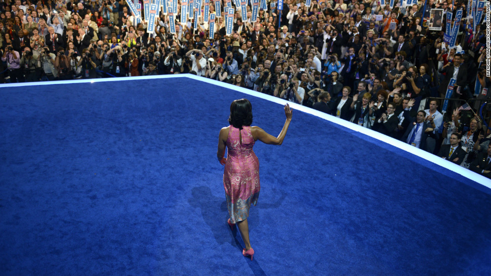 The first lady worked the crowd at the 2012 Democratic National Convention in Charlotte, North Carolina, in a Tracy Reese sheath with pink suede pumps by J. Crew, according to Taylor.