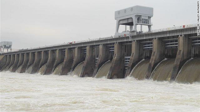 Water gushes from the Kentucky Dam near Paducah on Tuesday, January 15, 2013.