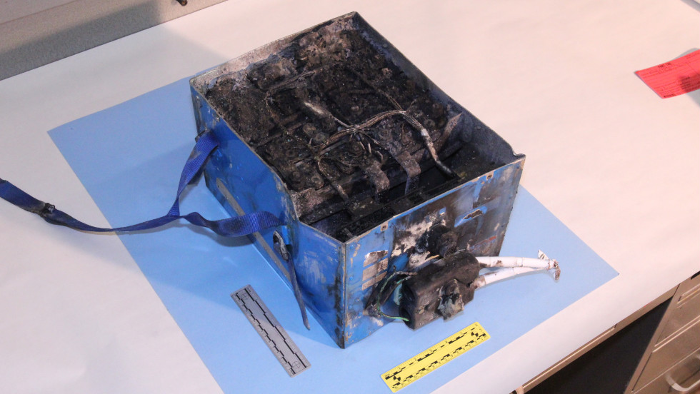 This is the lithium-ion battery that was involved in a fire aboard the Japan Airlines Boeing 787 in Boston.