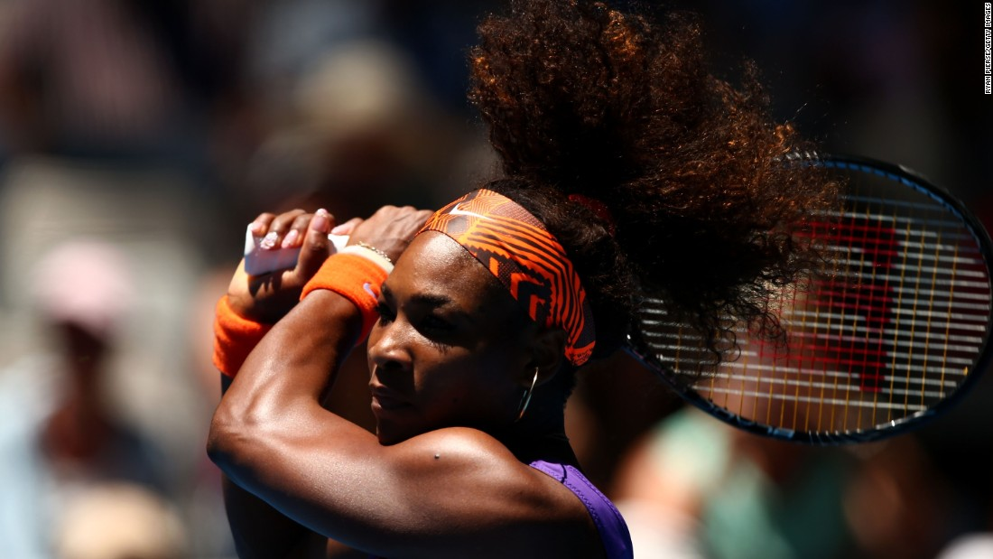 Serena sports a new style at the Australian Open in 2013.