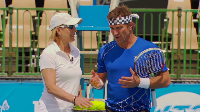 Martina Navratilova takes on Pat Cash