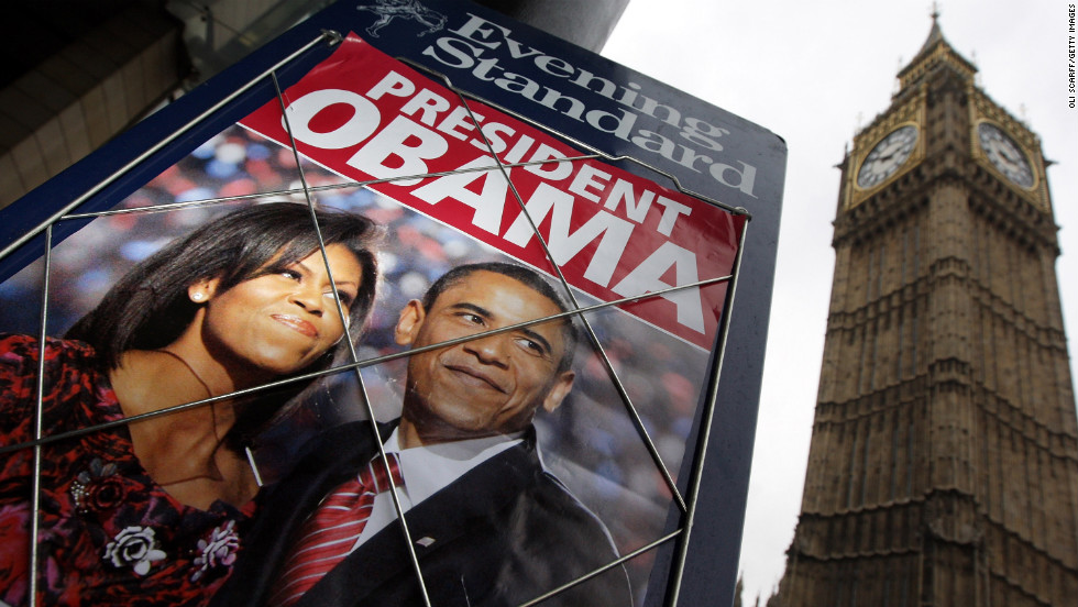 President Barack Obama has become an icon across the United States and the world. His likeness can be found all over the globe on T-shirts, banners and even lattes. Above: Obama in an advertisement for the Evening Standard newspaper in front of Big Ben on November 5, 2008, in London.