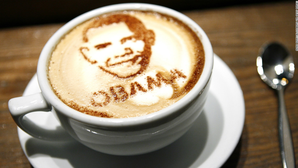 GERMANY: A caffe latte with the face of Barack Obama made out of cocoa powder sits in a coffee shop in Berlin on November 3, 2008.