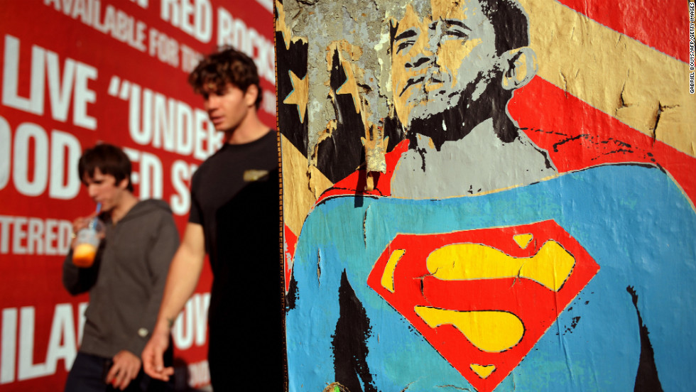 UNITED STATES: A poster of Obama as Superman on November 5, 2008, on Melrose Avenue in Los Angeles.
