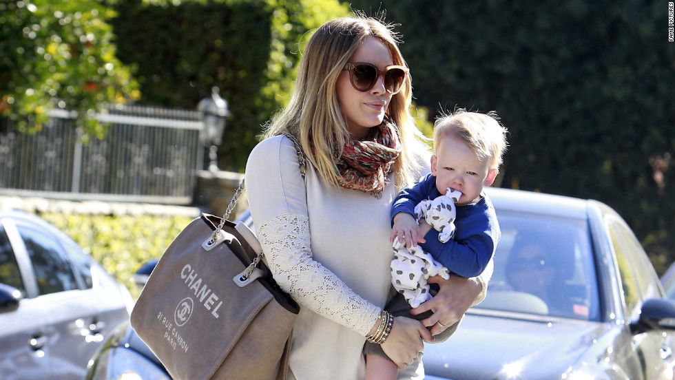 Hilary Duff takes Luca to a friends house in Los Angeles.
