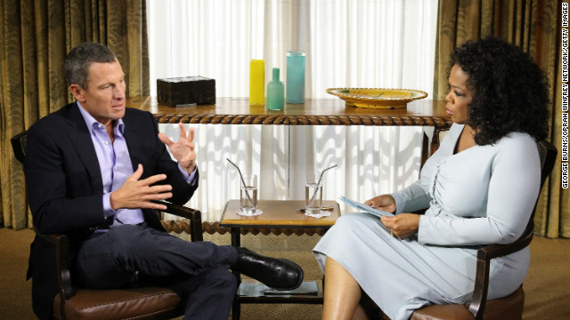 Oprah Winfrey speaks with Lance Armstrong during an interview regarding the controversy surrounding his cycling career.