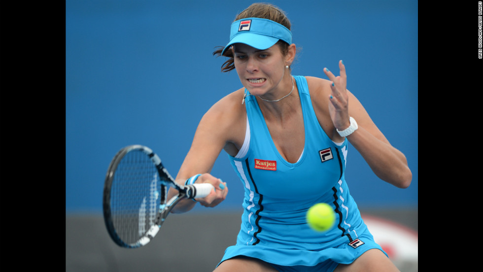 Goerges plays a return during her women's singles match against Zheng on January 18.
