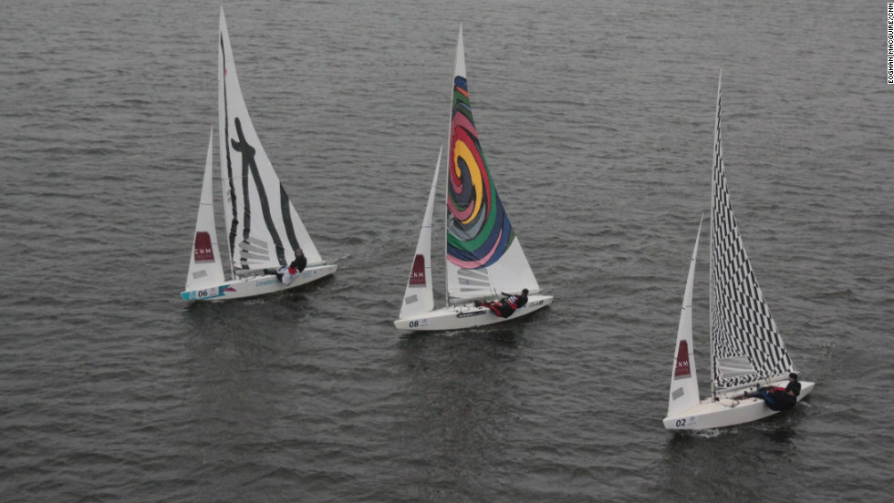 The three-day event saw sailing yachts  -- skippered by Olympic and World Championship sailors -- take to the water bearing sails adorned with the work of contemporary artists.