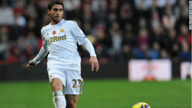 Swansea City's Angel Rangel in action for the Premier League club.