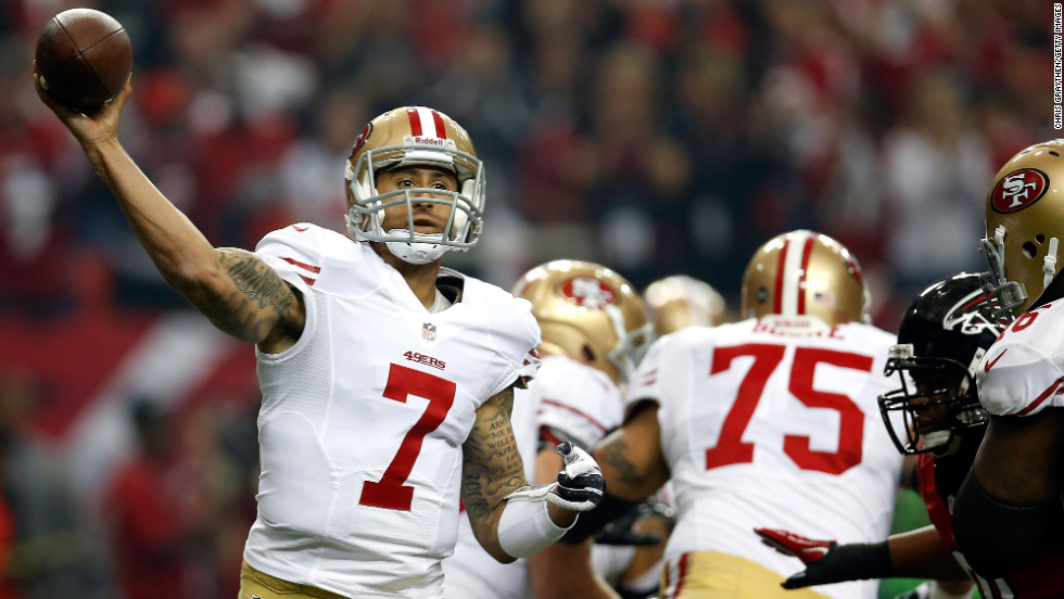 San Francisco 49ers quarterback Colin Kaepernick passes the ball in the first quarter against the Atlanta Falcons.