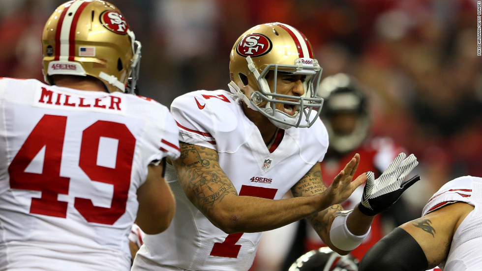 San Francisco quarterback Colin Kaepernick yells out during Sunday's game against the Atlanta Falcons.