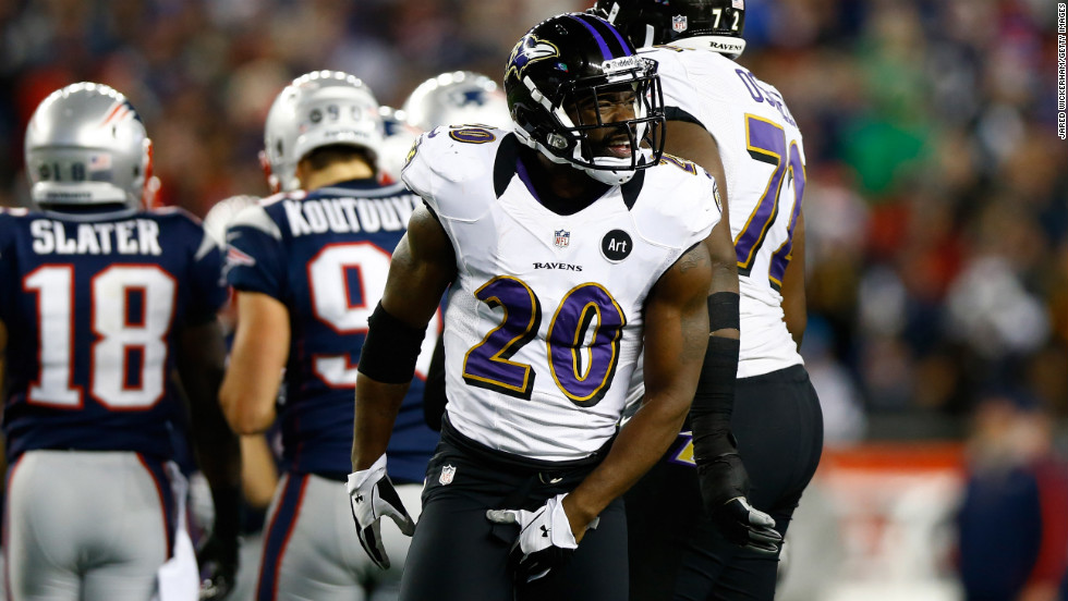 Ed Reed of the Baltimore Ravens celebrates after a play against the New England Patriots.