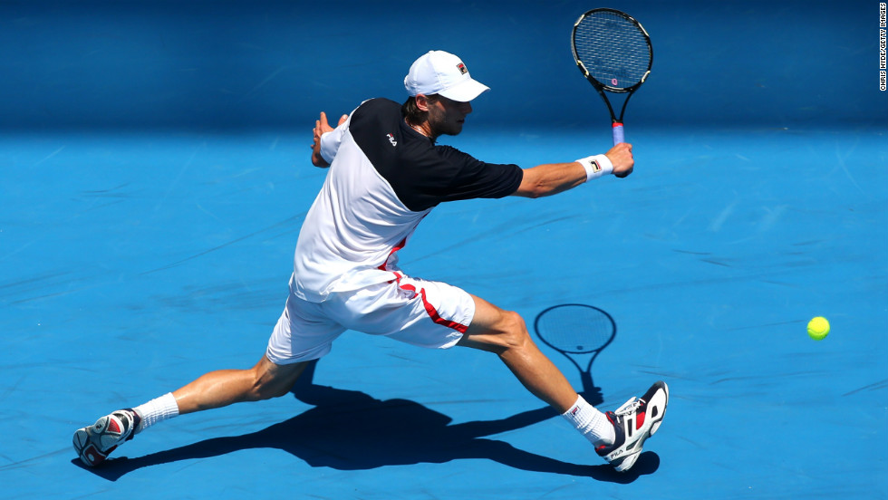 Andreas Seppi plays a backhand against Jeremy Chardy on January 21.