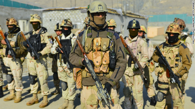 Afghan Crisis Response Unit forces stand in formation during an exercise at their camp on the outskirts of Kabul on Sunday.