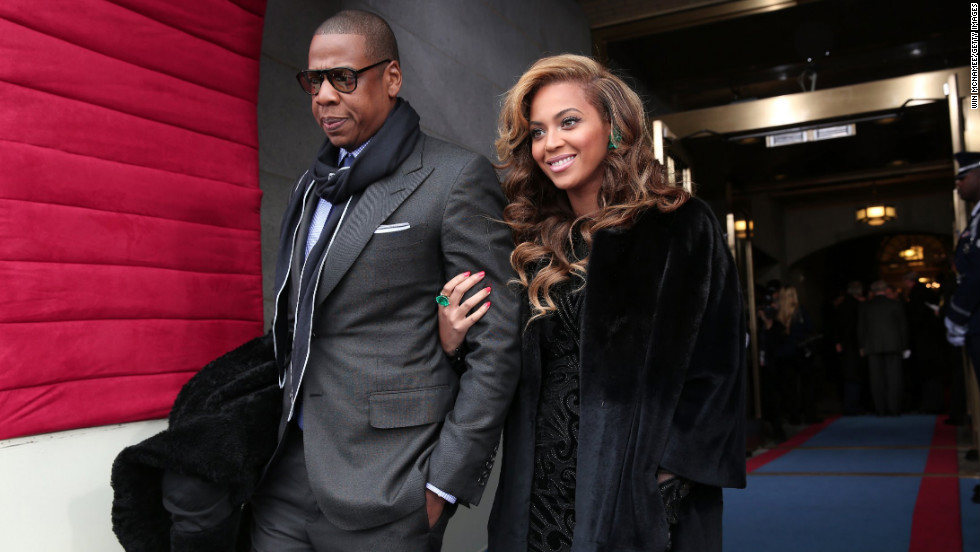 Celebrity couple Jay-Z and Beyonce arrive Monday at the inauguration.