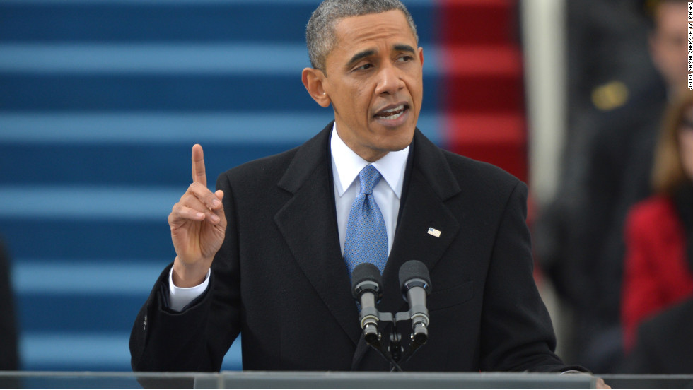 President Barack Obama addresses the audience after taking the oath of office on January 21.