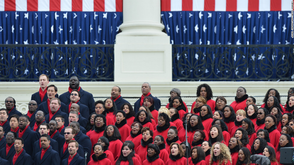 The Brooklyn Tabernacle Choir performs at the inauguration ceremony on January 21.